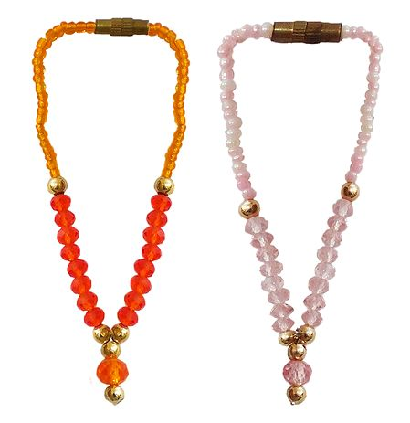 Set of 2 Saffron and Pink Beaded Small Garlands for Deity