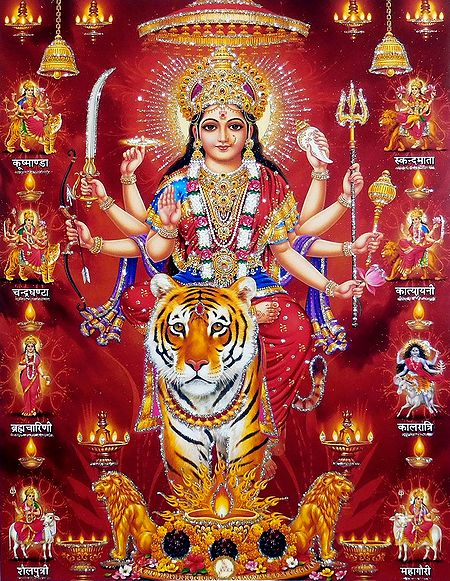 Nava Durga - Nine Forms of Goddess Durga - Glitter Poster