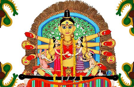 Durga in Kalighat Pata Style - Photo Print