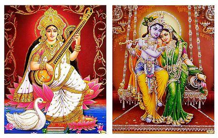 Saraswati and Radha Krishna - Set of 2 Glitter Posters