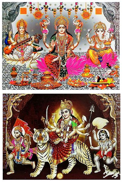 Lakshmi, Saraswati, Ganesha and Bhagawati - Set of 2 Glitter Posters