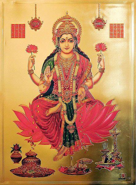 Goddess Lakshmi - Golden Metallic Poster