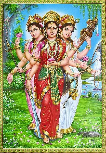 Parvati, Lakshmi and Saraswati