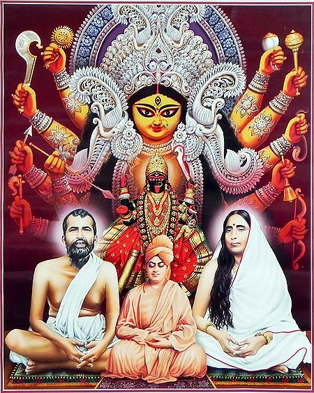 Durga, Kali with Ramakrishna Dev, Sarada Ma and Vivekananda