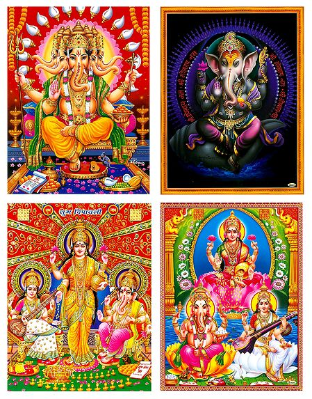 Lakshmi, Saraswati and Ganesha - Set of 4 Unframed Posters