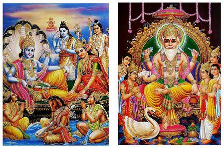 Lakshmi Narayan and Vishwakarma - Set of 2 Glitter Posters