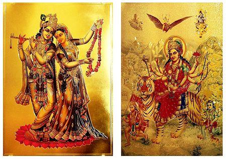 Radha Krishna and Bhagawati - Set of 2 Golden Metallic Paper Posters