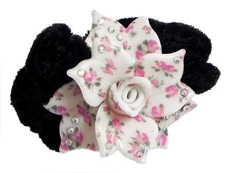 White and Light Pink Acrylic Flower Hair Band