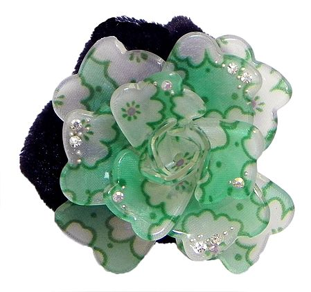White and Light Green Acrylic Flower Hair Band