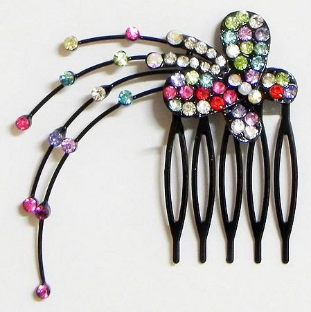 Multicolor Crystal Studded Butterfly Hair Comb