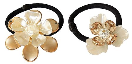 Set of 2 White with Golden Acrylic Flowers on Elastic Hair Band for Ponytail Holder