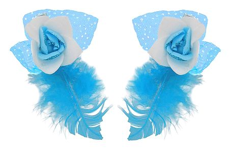 Set of 2 Blue Flower Hair Clip with Feather