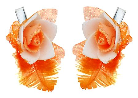 Set of 2 Saffron Flower Hair Clip with Feather