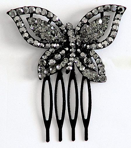 Grey Crystal Studded Butterfly Hair Comb