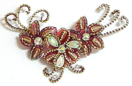 White Stone Studded Burgandy Flower Head Piece