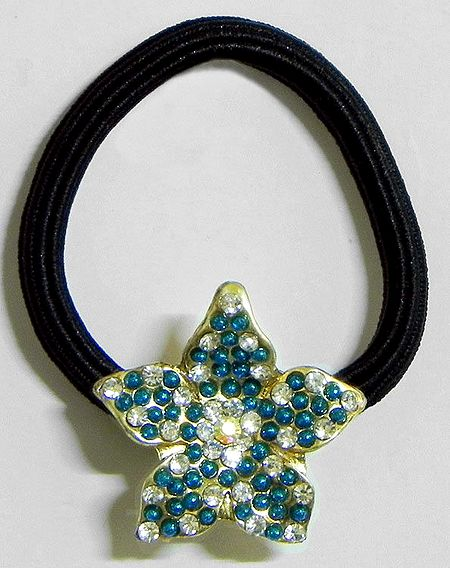 Faux Zirconia Studded Metal Flower on Elastic Hair Band for Ponytail Holder
