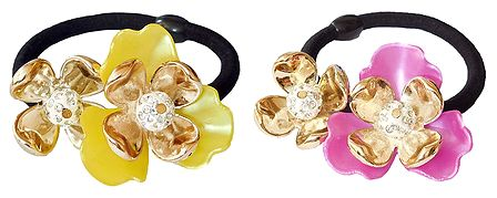 Set of 2 Acrylic Flowers on Elastic Hair Band for Ponytail Holder