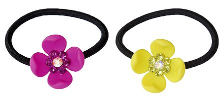 Set of 2 Magenta and Yellow Acrylic Flowers on Elastic Hair Band for Ponytail Holder
