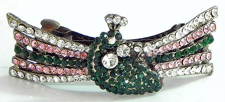 Faux Emarald, Ruby and Cubic Zirconia Peacock Hair Clip