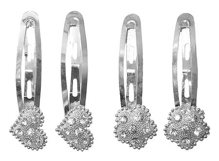 2 Pairs of White Stone Studded Hair Clips
