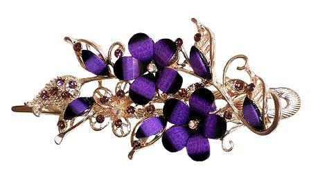 Purple Stone Studded Flower Design Press Hair Clip