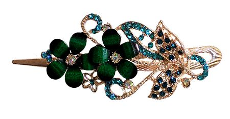 Cyan Green Stone Studded Flower Design Press Hair Clip