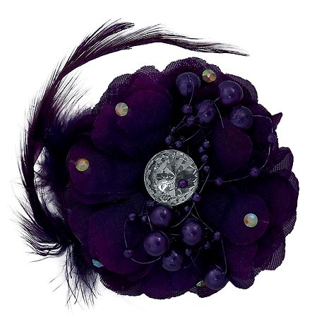 Purple Flower Hair Clip with Feather (can be used as Brooch also)