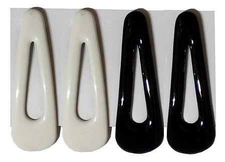 2 Pairs Tik Tak Black and White Acrylic Hair Clip