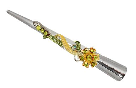 Stone Studded Yellow and Green Press Hair Clip