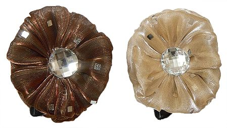 Pair of Brown and Off-White Glitter Cloth Hair Clutcher