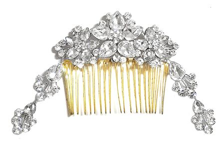 Stone Studded Metal Hair Comb