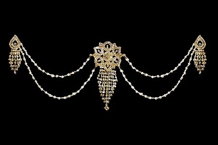 White Stone Studded Metal Head Piece with Earrings