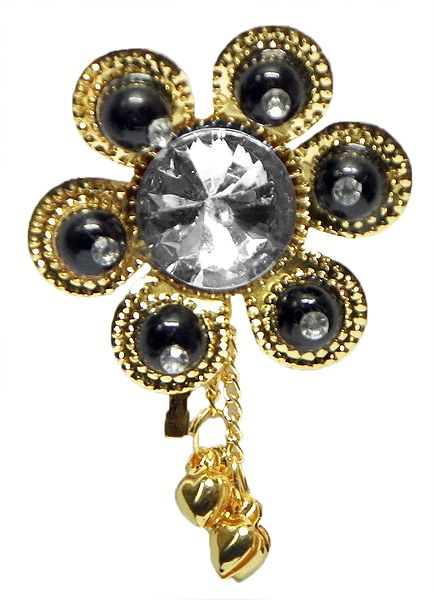 Black Bead with White Stone Golden Color Metal Flower Shaped Hair Pin