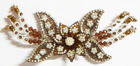 White Stone Studded Brown Acrylic Flower Head Piece with Beads