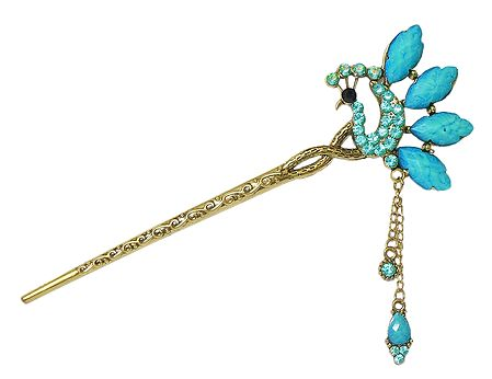 Decorative Peacock Pin for Hair Bun