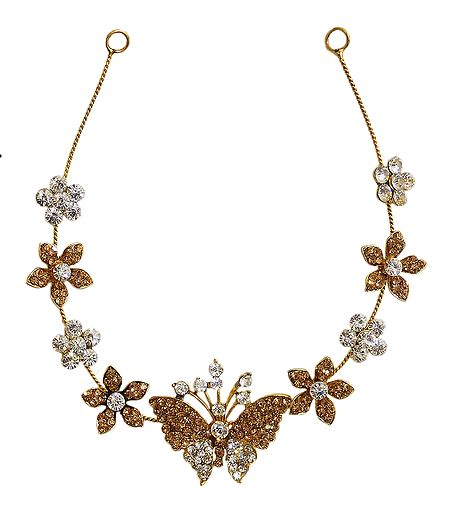 White and Yellow Stone Studded Metal Head Piece