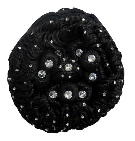 Stone Studded Designer Black Hair Bun