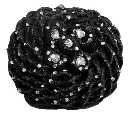Stone Studded Black Hair Bun