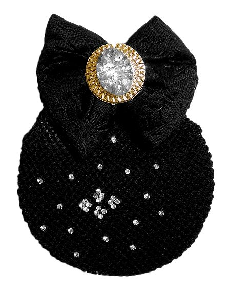 Stone Studded Hair Clip with Hair Bun Net