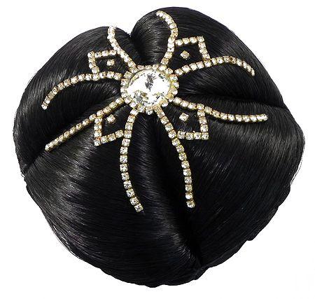 White Stone Studded Black Hair Bun