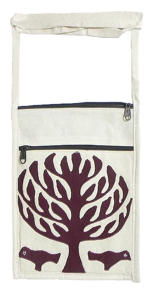 Brown Tree Applique on Shoulder Bag with Two Zipped Pocket