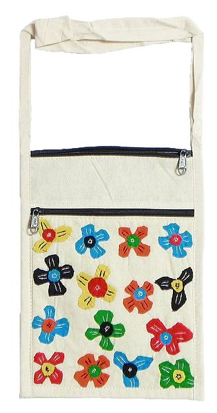 Colorful Flower Applique on Shoulder Bag with Two Zipped Pocket