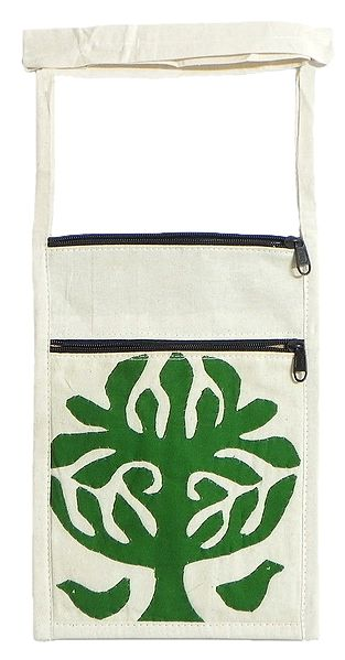 Green Tree Applique on Shoulder Bag with Two Zipped Pocket