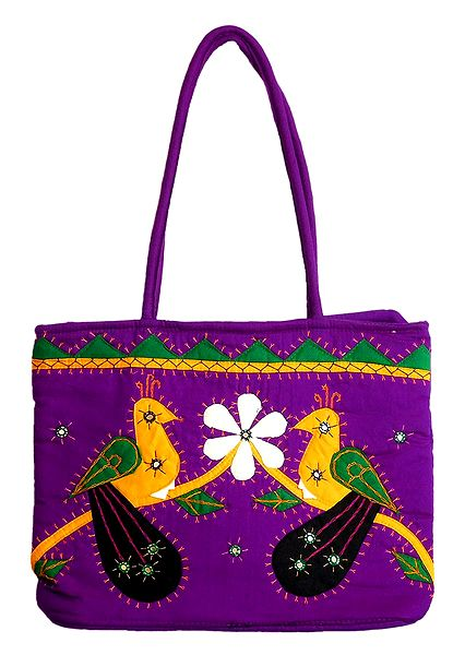 Bird Applique on Shoulder Bag with Two Zipped Pocket