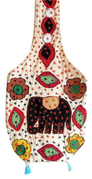 Embroidered Multicolor Cotton Bag