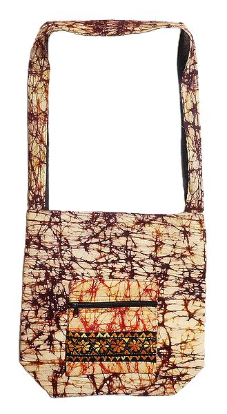 Kantha Embroidered Off-White with Brown Batik Cotton Bag with Three Zipped Pocket