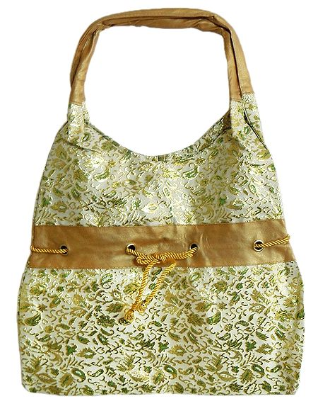 White with Golden Brocade Silk Beach Bag