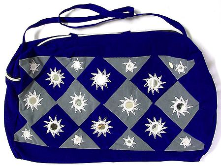 Blue and Grey Mirror Work Bag