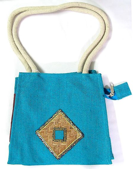 Blue Appliqued Bag with Two Open Pockets and Two Zipped Pockets