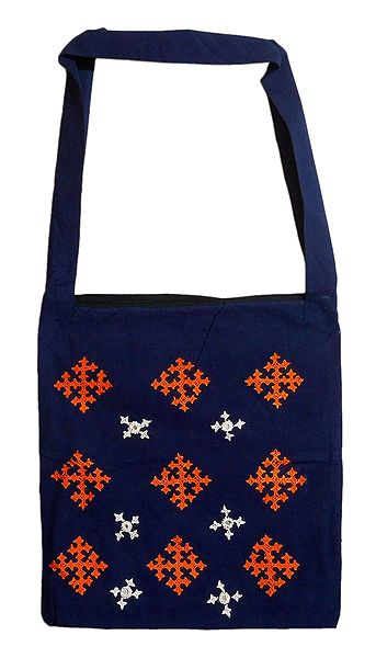 Gujrati Embroidery Blue Shoulder Bag with One Zipped Pocket